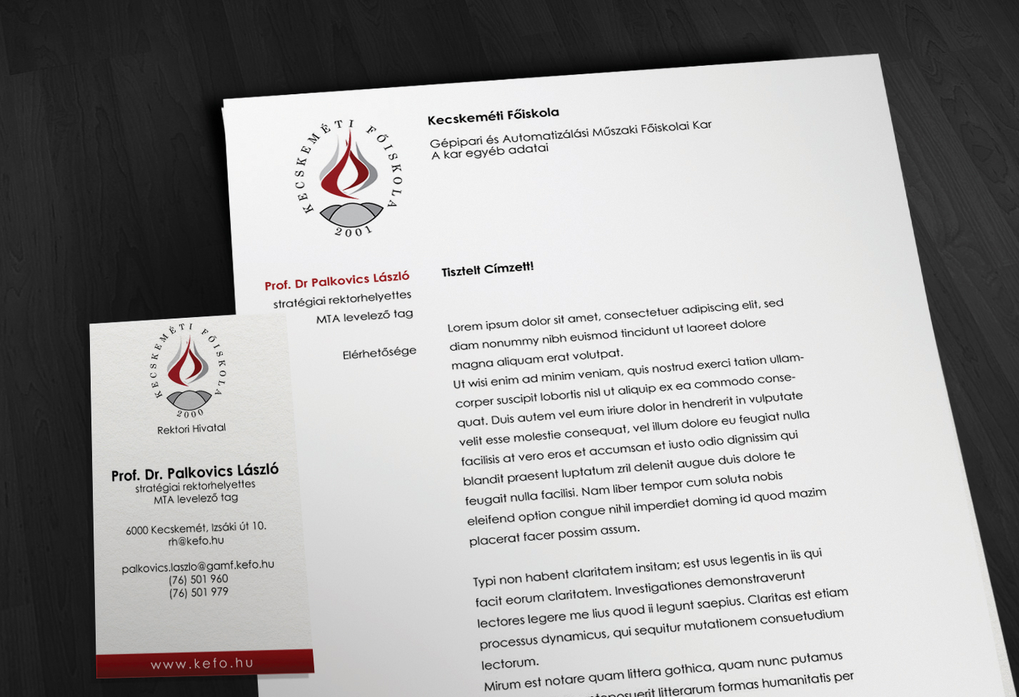 Kecskeméti Főiskola arculata, a kész Levélpapír és Névjegykártya formátuma