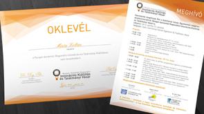 Innovációs Kiállítás és Találmányi Vásár arculat készítése, képen az Oklevél és meghívó látható