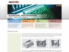 Prototec honlapja, egyedi grafikai megoldásokkal