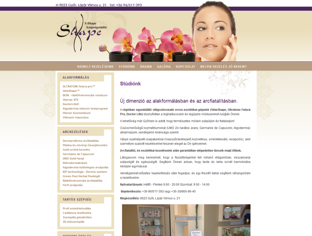 X-Shape Szépségstúdió weboldala