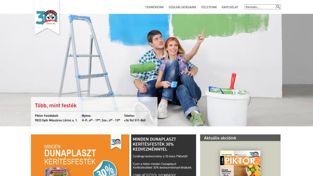Piktor Festékbolt weboldalának kezdőlapja hd nézetben