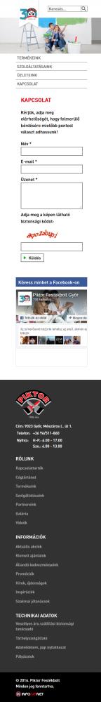 Piktor Festékbolt weboldal mobil nézetben