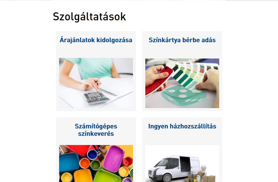 Piktor Festékbolt weboldal tablet nézetben