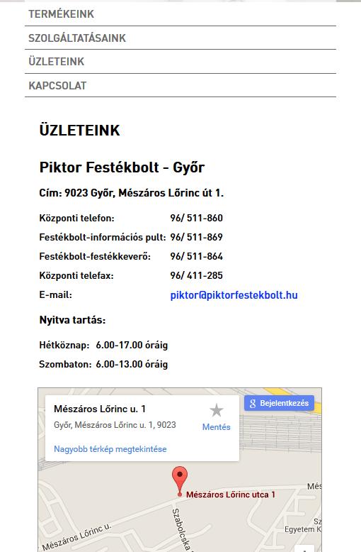 Piktor Festékbolt weboldal tablet álló nézetben