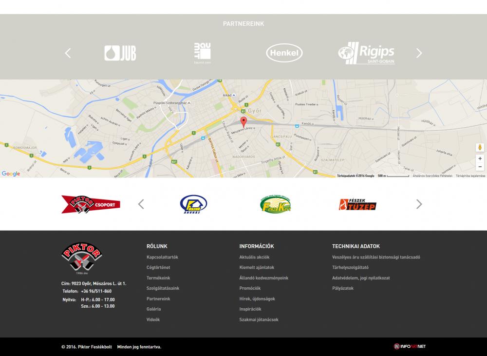 Piktor Festékbolt weboldal normál nézetben