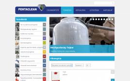 Pentaclean Hungary Kft. webkatalógus fekvő táblagép nézetben