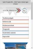 Győr Projekt Kft. weboldala mobil nézetben