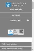 Universitas-Győr Nonprofit Kft. weboldala, mobil nézet
