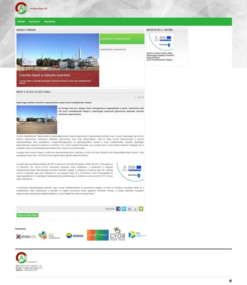 Arrabona Depo Kft. (http://www.arrabonadepo.hu) - teljes főoldal