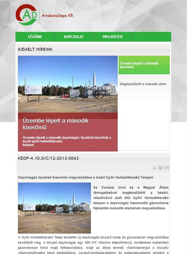 Arrabona Depo Kft. (http://www.arrabonadepo.hu) - tablet nézet (álló)