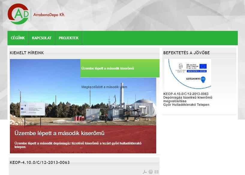 Arrabona Depo Kft. (http://www.arrabonadepo.hu) - tablet nézet (fekvő)