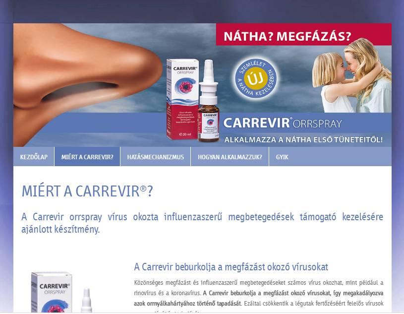 Carrevir (Sager Pharma) (http://carrevir.hu) - tablet nézet (fekvő)