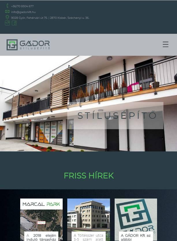Gádor a Stílusépítő (gadorkft.hu) - főoldal - tablet nézet (álló)