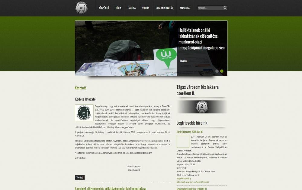 Hajléktalanokat Segítő Szolgálat (http://lem-gyor.hu/kezdolap) - monitor nézet