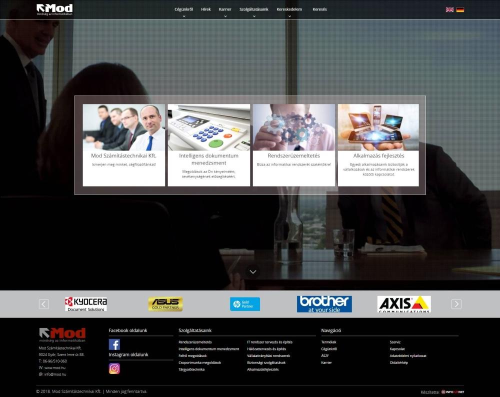 MOD Számítástechnikai és Kereskedelmi Kft. (http://mod.hu) - teljes főoldal