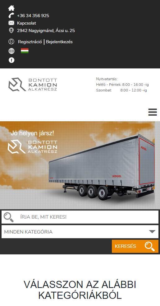 Bontott PÓT (TIMX Kft.) (http://bontottpot.hu) - mobil nézet