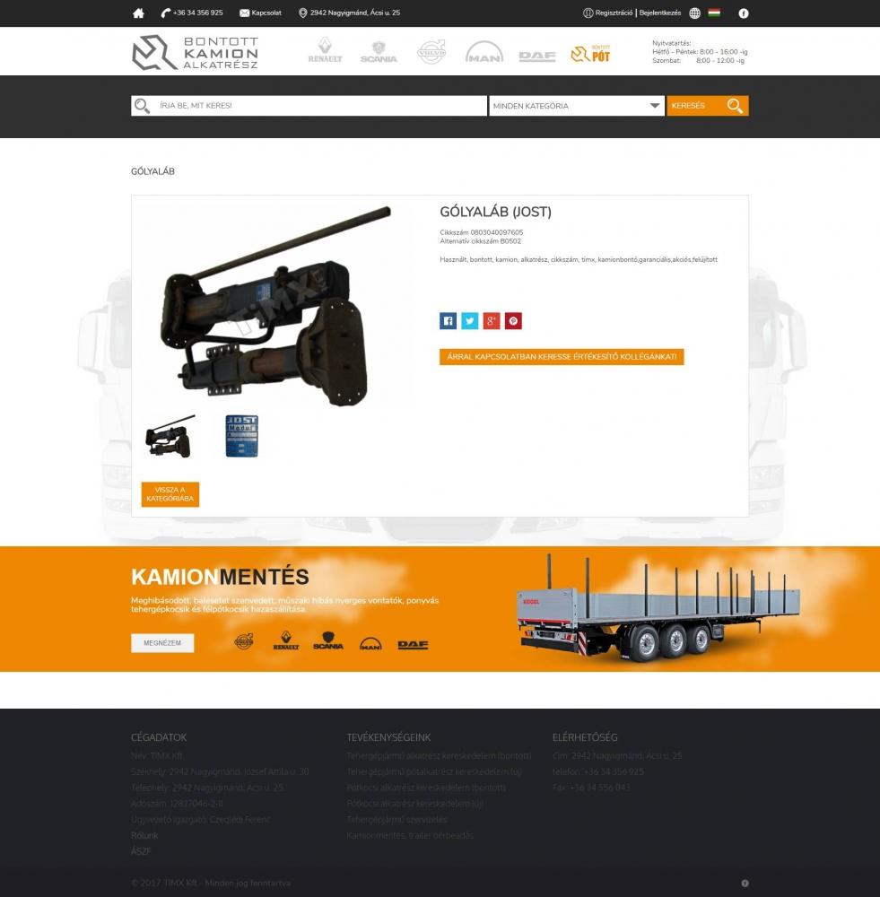 Bontott PÓT (TIMX Kft.) (http://bontottpot.hu) - webshop - terméklap