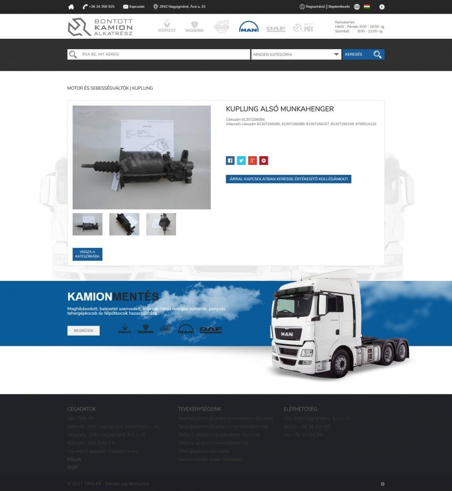 Bontott MAN (TIMX Kft.) (http://bontottman.hu) - webshop - terméklap