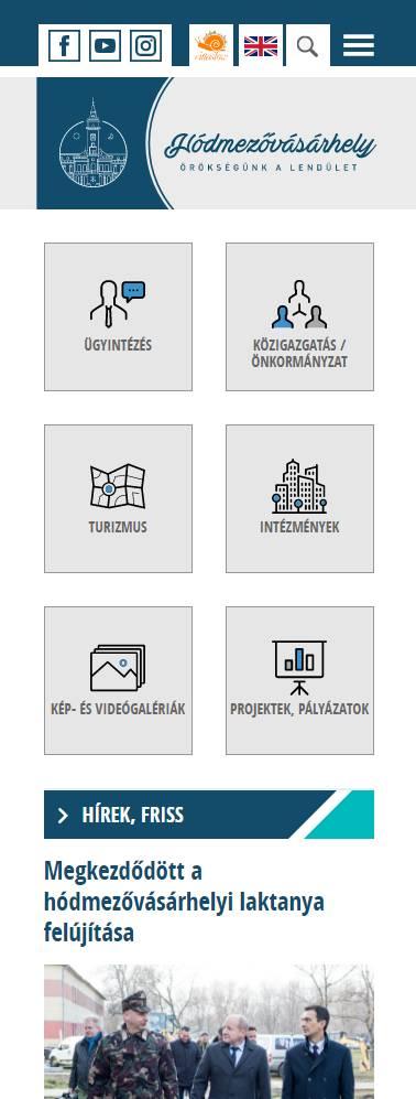 Hódmezővásárhely város honlapja (https://www.hodmezovasarhely.hu) - mobil nézet