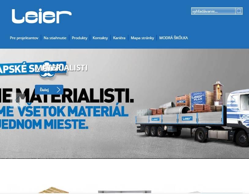 LEIER (szlovákia) (http://www.leier.sk) - tablet nézet (fekvő)
