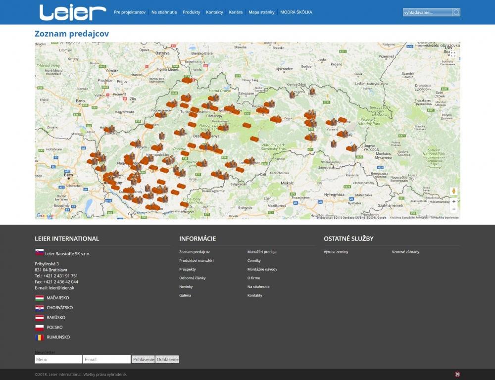 LEIER (szlovákia) (http://www.leier.sk) - viszonteladói térkép