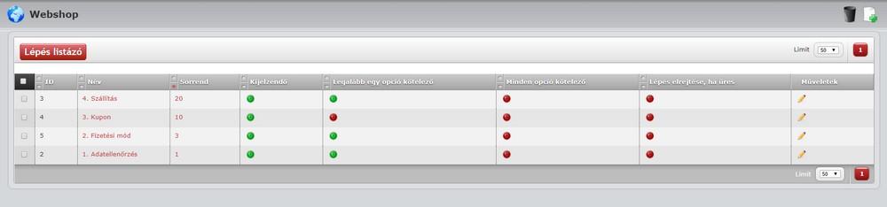 Webáruház funkciók